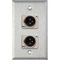 My Custom Shop WPL-1114 1-Gang Stainless Steel Wall Plate w/ 2 Neutrik 3-Pin XLR-M Connectors