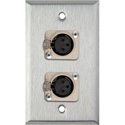 My Custom Shop WPL-1116 1-Gang Stainless Steel Wall Plate w/ 2 Neutrik Latching 3-Pin XLR Female Connectors