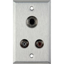 1-Gang Stainless Steel Wall Plate w/2 RCA Barrels & 1 S-Video Barrel