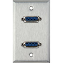 1G Stainless Steel Wall Plate with Two 15-Pin Female Barrels