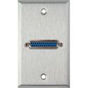 MCS WPL-1150 1-Gang Stainless Steel Wall Plate w/ One 25-Pin D-Sub Female Barrel