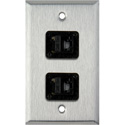 My Custom Shop WPL-1153 1-Gang Stainless Steel Wall Plate w/ 2 CAT5e RJ45 Feedthrus