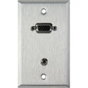 MCS WPL-1154 1-Gang Stainless Steel Wall Plate w/ 15-Pin HD Female Barrel & Stereo Mini Jack