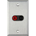 1G Stainless Wall Plate w/1 Pomona Dual Banana Jack 1-Black/1-Red
