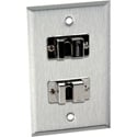 1-Gang Stainless Steel Wall Plate with 2 FireWire 6-Pin Barrels