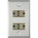 MCS WPL-1177 1-Gang Stainless Steel Wall Plate w/ 2 USB A to B Barrels