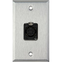MCS WPL-1178 1-Gang Stainless Steel Wall Plate w/ One 5-Pin XLR DMX Connector