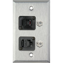 1G Stainless Wall Plate w/1-RJ45/1-RJ11 & 2- FJ-FJCM Barrel Connectors
