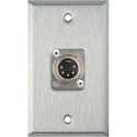 MCS WPL-1206 1-Gang Stainless Steel Wall Plate w/ One Male 5-Pin XLR DMX Connector