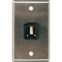 My Custom Shop WPL-1211 1-Gang Stainless Steel Wall Plate w/ USB-A Over CAT5e/6 D-Series Panel Mount