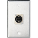 MCS WPL-1212 1-Gang Stainless Steel Wall Plate w/ 1 USB A to B Barrels
