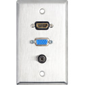 MCS WPL-1213 1-Gang Stainless Steel Wall Plate w/ HDMI & 15-Pin VGA & Stereo Mini