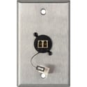 MCS WPL-1218 1-Gang Stainless Steel Wall Plate w/ 1 Duplex LC Multimode Fiber Optic Connector