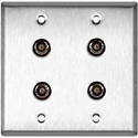2-Gang Stainless Steel Wall Plate with 4 BNC- RGBS Barrels