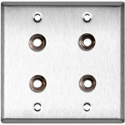 My Custom Shop WPL-2104 2-Gang Stainless Steel Wall Plate w/ 4 Switchcraft SW12B Stereo 1/4 Jacks