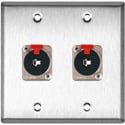 2G Stainless Wall Plate w/2 Neutrik NJ3FP6C Stereo 1/4 Latching Jacks
