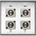 2G Stainless Steel Wall Plate w/4 Canare BCJ-JRU Recessed BNC Barrels