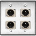 MCS WPL-2109 2-Gang Stainless Steel Wall Plate w/ 4 Neutrik XLR 3-Pin Male Connectors