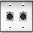 2-Gang Stainless Steel Wall Plate w/2 Neutrik Latching 3-Pin XLR-Fs