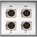 My Custom Shop WPL-2111 2-Gang Steel Wall Plate with 4 Neutrik Latching 3-Pin XLR Females