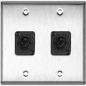 2-Gang Stainless Steel Wall Plate w/2 Neutrik Plastic 3-Pin XLR Males