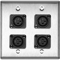 2-Gang Stainless Steel Wall Plate w/4 Plastic Latchless 3-Pin XLR-Fs