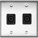 MCS WPL-2118 2-Gang Stainless Steel Wall Plate w/ 2 Neutrik NL4MP 4-Pole speakONs