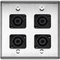 2-Gang Stainless Steel Wall Plate with 4 Neutrik NL4MP 4-Pole Speakons