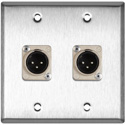 2G Stainless Steel Wall Plate w/2 Neutrik XLR 3-Pin Male Connectors