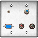 2G Stainless Steel Wall Plate w/1-HD15F/3-RCA Barrels and 1-3.5 Stereo Mini Jack