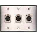 3-Gang Stainless Steel Wall Plate w/3 Latching Neutrik 3-Pin XLR-Fs