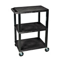 Luxor WT34S - 34-Inch High Black Tuffy Utility Cart - 3 Shelves