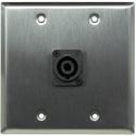 Whirlwind WP2/1NL4 2-gang Stainless Steel Wall Plate - 1 Neutrik NL4 Speakon