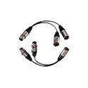 Bescor 4 Pin XLR Power Y-Adaptor 1Male to 2 Females 5 Inch Fan