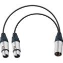 Connectronics YA-104 Premium XLR Male to Dual XLR Female Y-Cable 6 Inch