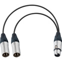 Connectronics YA-105 XLR Female to Dual XLR Male Y Cable