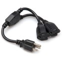 Hosa YAC-407 18 AWG Dual NEMA 5-15R to NEMA 5-15P Power Extension Y Cable (1.5 Ft.)