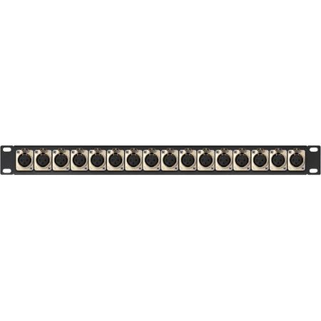 MCS 16XLRF 1RU XLR Female Patch Panel w/ Neutrik NC3FD-L-1 Connectors 16-Point