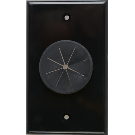 Midlite 1GBK-GR1 1 GANG Wireport Wall Plate with Grommet- Black