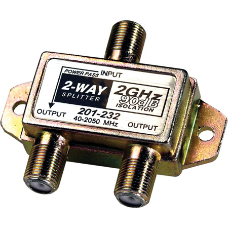 Connectronics 2-Way 2.4Ghz 90dB Satellite Splitter DC Power Passing to One Port