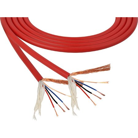 Mogami W2893 4 Conductor 26 AWG Miniature Quad High Definition Mic Cable Red per foot