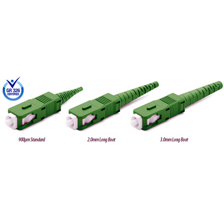 Premium SC/APC Conical Pre-Angle 125um 2mm Mini Boot Green