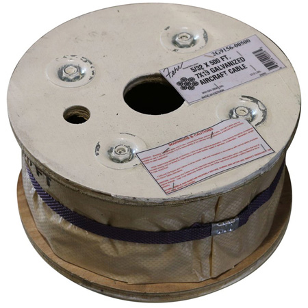 3/16 Diameter x 500 Foot 7x19 Galvanized Aircraft Cable