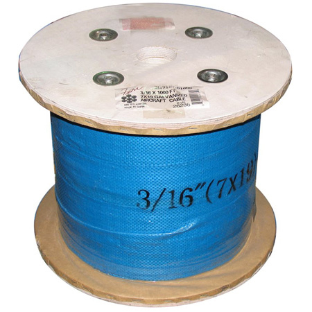 3/16 Diameter x 1000 Foot 7x19 Galvanized Aircraft Cable