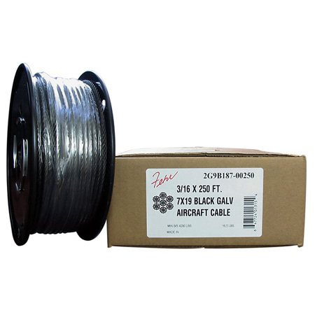 1/8 Diameter x 250 Foot Roll 7x19 Black Galvanized Aircraft Cable