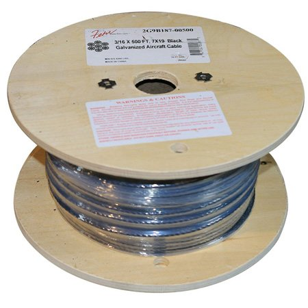 1/8 Inch Diameter x 500 Foot Roll 7x19 Black Galvanized Aircraft Cable