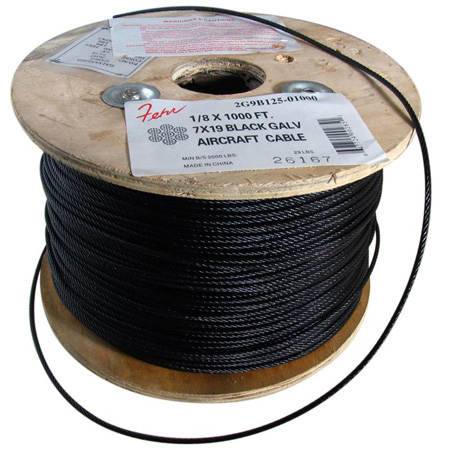 1/8-Inch x 1000 Foot Roll - 7x19 Black Galvanized Steel Aircraft Cable