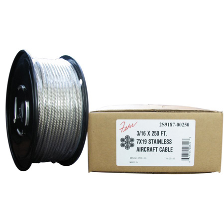 Fehr Brothers 2S9187-00250 3/16 Diameter x 250 Foot Roll 7x19 Stainless Steel Aircraft Cable