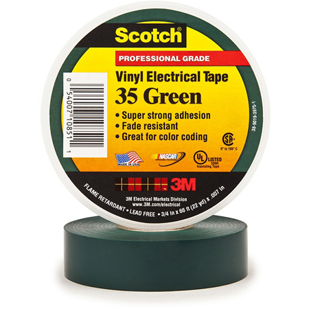 3M Scotch 35 Color Coding Electrical Tape 1/2 Inch x 20 Feet Green