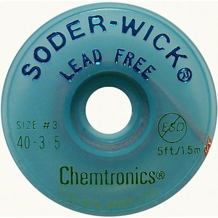 Lead-Free Solder-Wick Desoldering Braid - Size No.3 0.080In x 5Ft